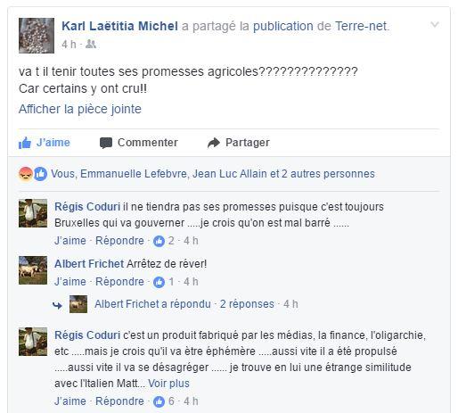 Réactions d'agriculteurs sur Facebook suite à l'élection d'Emmanuel Macron président de la République française